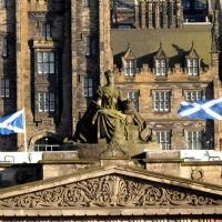 Scottish flags in Edinburgh