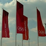 Flags sporting the Olympic rings