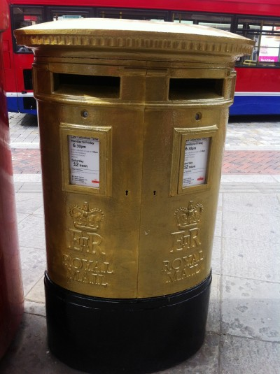 Olympic gold postbox in Watford