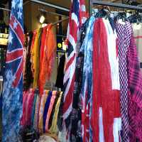 Union Jack scarves on sale in Covent Garden
