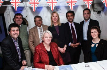 Director of British Future Sunder Katwala (bottom left) with debate chair Mary Riddell (top middle) and the debate panellists.