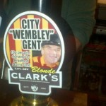 A Wembley Cup themed beer tap at the Corn Dolly pub in Bradford