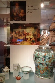 A display of tea at the exhibition.