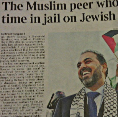 Lord Ahmed story in The Times
