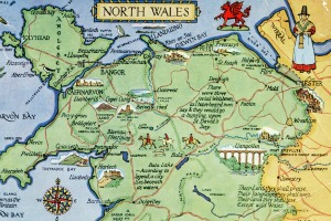 Postcard map of north Wales. Bryn Lewis lives in a small town between Llandudno and Bangor in the north-west tip. Photo: Alwyn Ladell