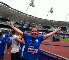 Annabel Harbord at the finish line