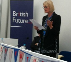 Margot James MP speaking at the British Future and ConservativeHome event
