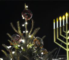 Christmas tree and menorah. Photo: Kevin H.