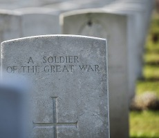 War Grave at Tyne Cot Cemetary, Belgium. Photo: UK Ministry of Defence