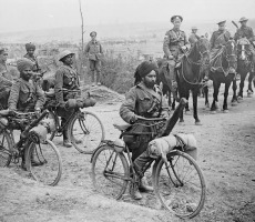 Indian bicycle troops at a crossroads on the Fricourt-Mametz Road, Somme, France, 1916. Photo: John Warwick Brooke via Wikimedia