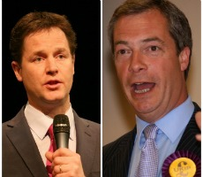 Nick Clegg on left. Photo: Liberal Democrats. Nigel Farage on right. Photo: Euro Realist Newsletter
