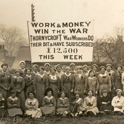 In this photograph from 1916, the banner proclaims that women, and the firm of Thornycroft, have subscribed £12,500 in one week towards the war effort. Photo: Hampshire and Solent Museums (https://www.flickr.com/photos/hampshireandsolentmuseums/)