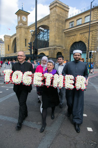 Walk Together For Peace - in commemoration of the 7/7 bombings in London 2010. From left to right: Revd Bertrand Olivier, Rabbi Laura Janner-Klausner, Imam Qari Asim. Photo: Kristian Buus/British Future