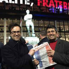 Handing out songsheets at Wembley