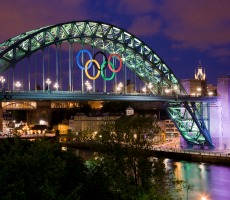Giant Olympic rings, Tyne Bridge, Newcastle. Photo: The Department for Culture, Media and Sport