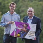 Scotland's First Minister Alex Salmond presents Andy Murray with his commemorative stamp, September 2012. Photo: Scottish Government