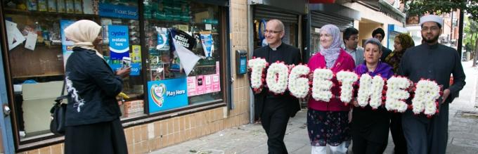 Walk Together For Peace - in commemoration of the 7/7 bombings in London 2010. From left to right: Revd Bertrand Olivier, Rabbi Laura Janner-Klausner, Imam Qari Asim. Photo: Kristian Buus/British Future